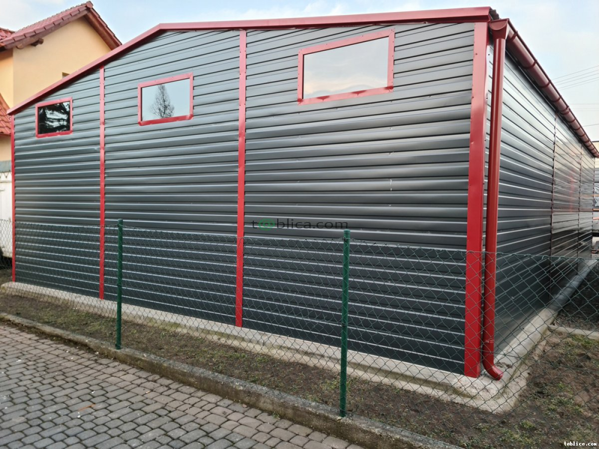 Garaż blaszany dwustanowiskowy 8x12 m automat bramy