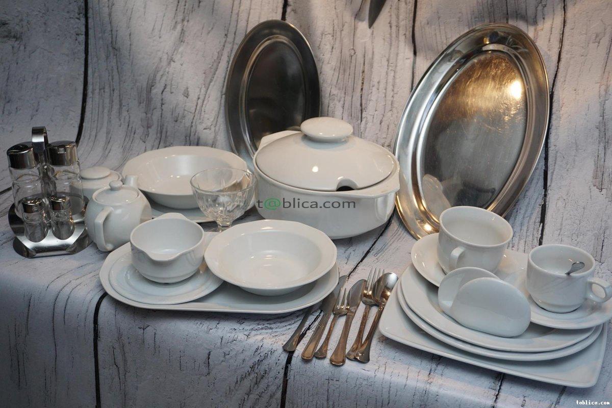 Porcelana talerze szkło kieliszki sztućce catering