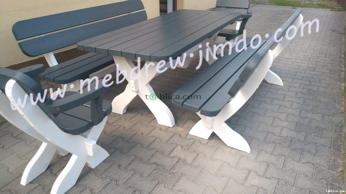 zestaw stół ogrodowy drewniany 2 ławki 2 fotele
