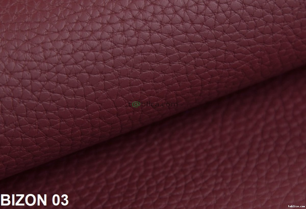 Bizon, tkanina obiciowa z podbitką skóry naturalnej