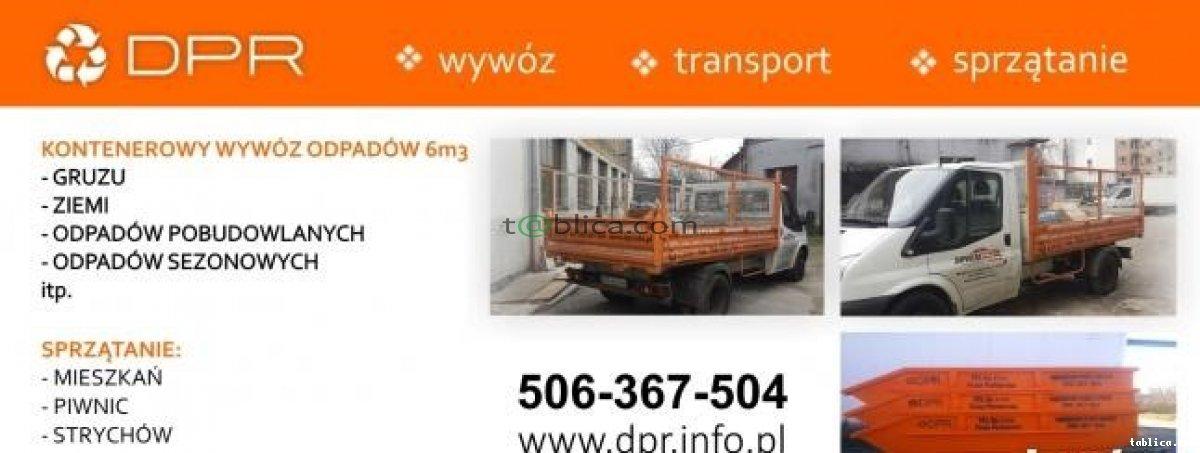 Wywóz gruzu śmieci odpadów kontenery 6m3 i 9m3