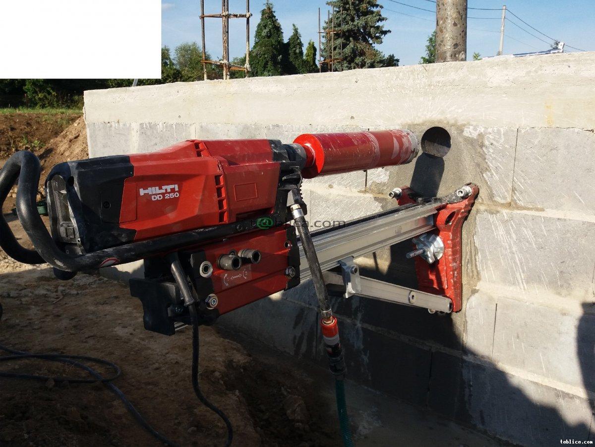 Przewierty, otwory, wiercenie w betonie,  żelbecie