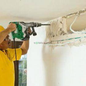 Wyburzenia ścian, skuwanie tynków, skuwanie płytek,