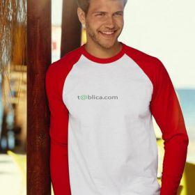 T-shirt baseball z dł.rękawami biały/czerwony FRUIT of