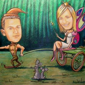 Karykatura ze zdjęcia 20x40cm urodziny, ślub, rocznica